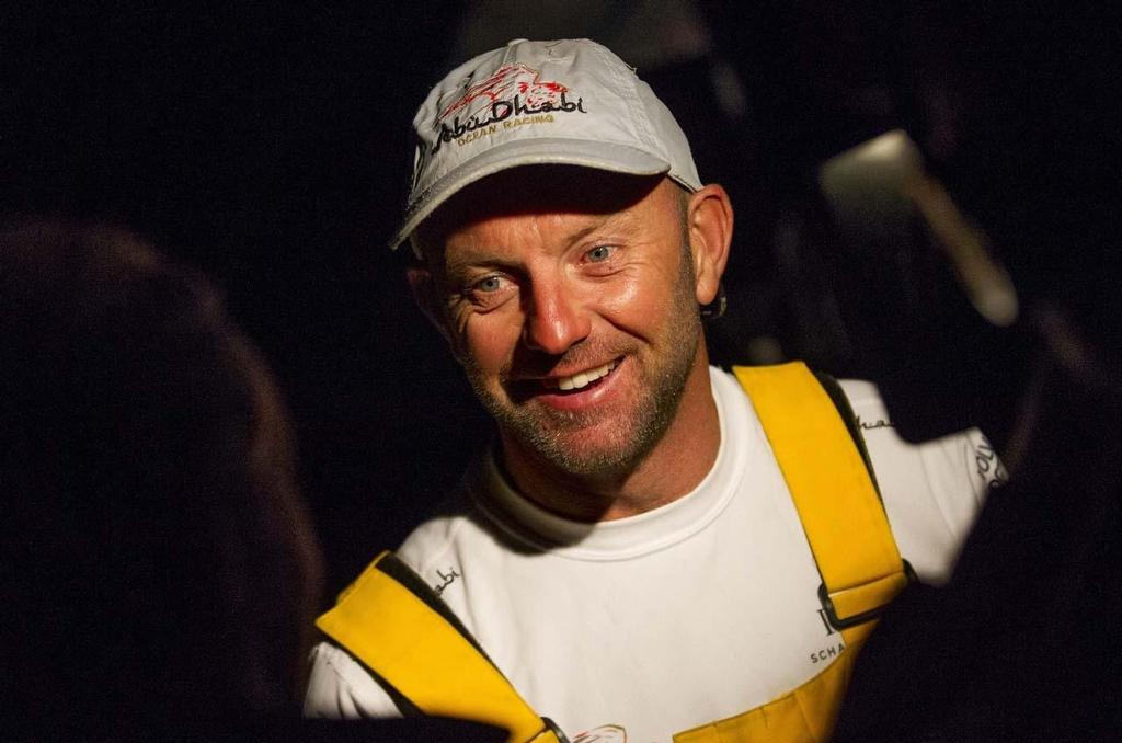 Ian Walker, skipper of Abu Dhabi Ocean Racing's Azzam talks to media after crossing the finish line off the Royal Yacht Squadron, Cowes at 22.20.28 BST on Friday 15th August with an elapsed time of 4 days, 13 hours, 10 minutes, 28 seconds. ©  Ian Roman / Abu Dhabi Ocean Racing