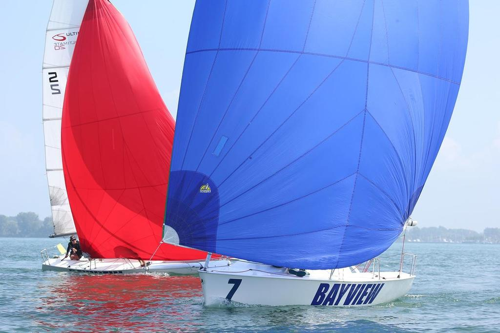Tight downwind racing in light air in Quarter-Finals of Detroit Cup - Detroit Cup © Isao Toyoma