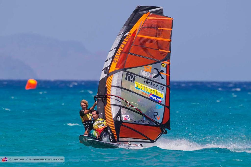 Light hearted fun for Jossin - 2014 PWA Fuerteventura Grand Slam ©  Carter/pwaworldtour.com http://www.pwaworldtour.com/
