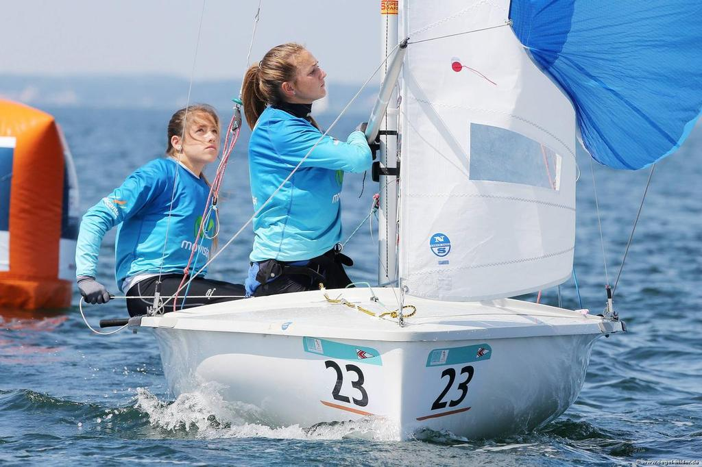 Silvia Mas - Marta Dávila - first day of the Finals in the 2014 420 Worlds © Christian Beeck