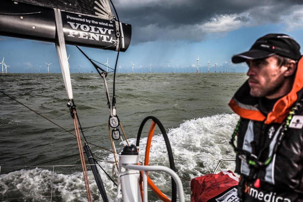 August 11, 2014. Round Britain Island Race Day 1 - OBR content Team Alvimedica: Wind farms, oil rigs, and commercial traffic litter the road north during day one of the RORC's Round Britain and Ireland Race. ©  Amory Ross / Team Alvimedica