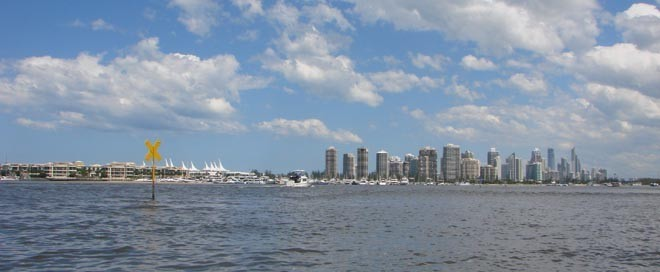Gold Coast from Broadwater with marinas in foreground © BW Media