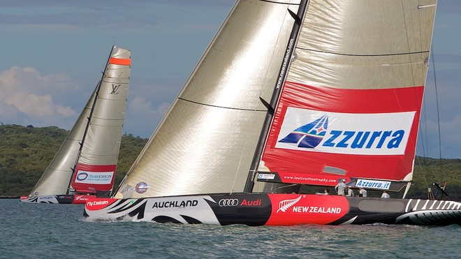 NEW ZEALAND, Auckland, 9th March 2010, Louis Vuitton Trophy, Round Robin 1, TEAMORIGIN vs Azzurra. © Ian Roman/TEAMORIGIN www.ianroman.com