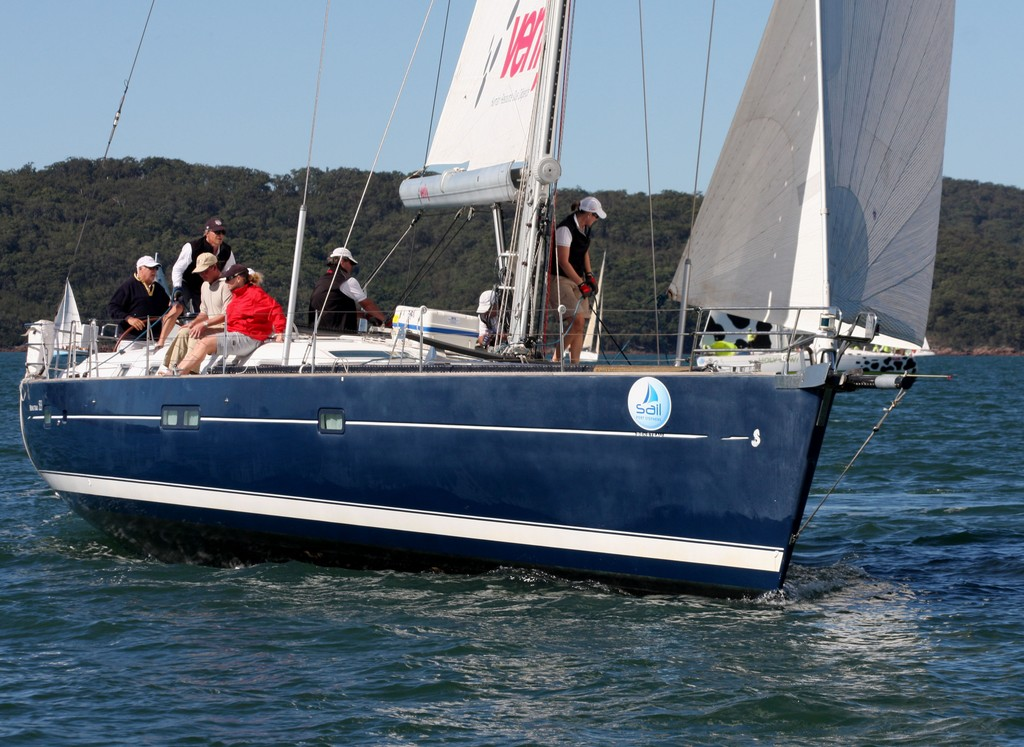 Argo Blue with George Snow on the wheel. Commodore&rsquo;s Cup day 3 Sail Port Stephens 2011  <br />  &copy; Sail Port Stephens Event Media