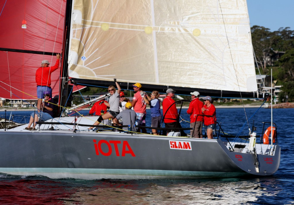 iota crew at the finish. Commodore&rsquo;s Cup day 3 Sail Port Stephens 2011  <br />  &copy; Sail Port Stephens Event Media