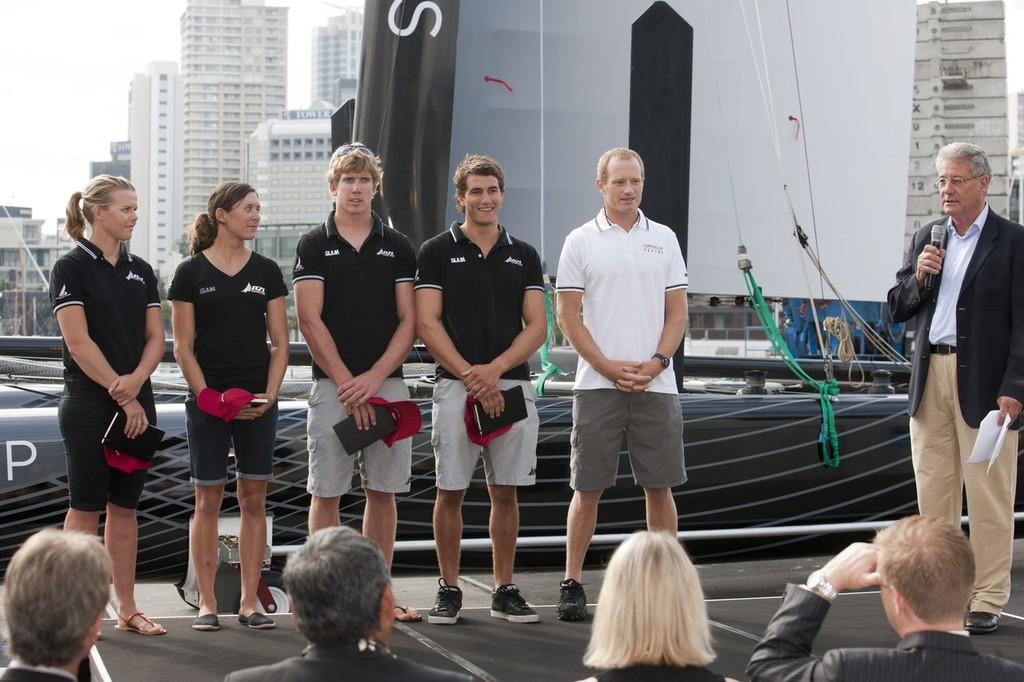 NZL Sailing Team members Olivia Powrie, Jo Aleh, Peter Burling, Blair Tuke with Jimmy Spithill and Peter Montgomery © ACEA - Photo Gilles Martin-Raget http://photo.americascup.com/