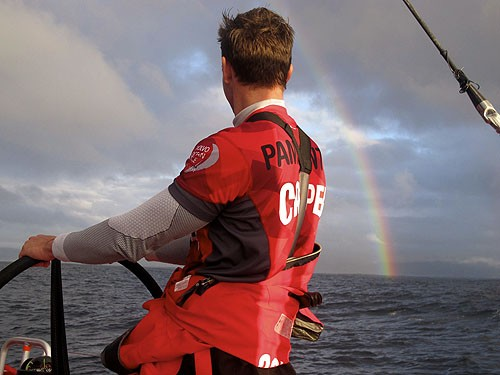 A sign of things to come ... Mike Pammenter at the helm of CAMPER © Emirates Team New Zealand http://www.etnzblog.com
