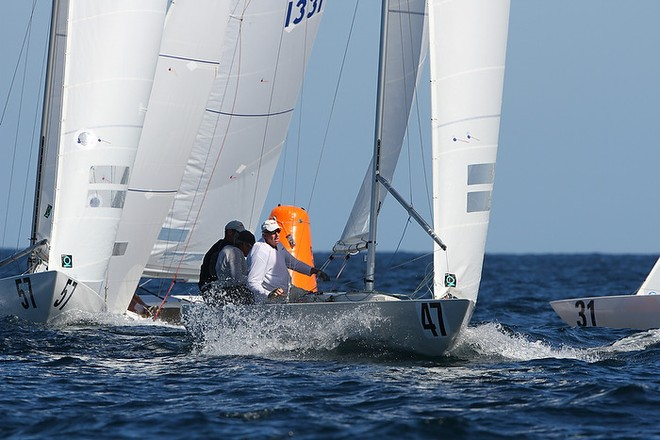 Etchells World Championship Sydney Australia 2012.   Graeme Taylor  who finished third in race eight seen rounding the windward mark. © Ingrid Abery http://www.ingridabery.com