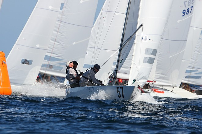 Etchells World Championship Sydney Australia 2012.  James Howells, GBR, 2nd overall in race eight, heading for the spreader mark.  © Ingrid Abery http://www.ingridabery.com