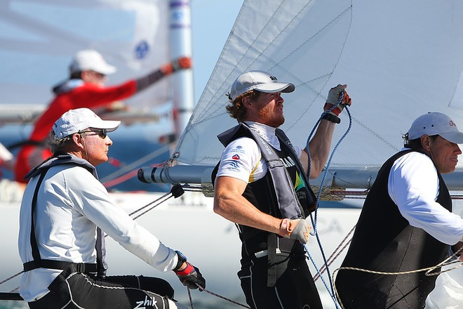Etchells World Championship Sydney Australia 2012.   John Bertrand, Tom Slingsby and David Giles approaching the spreader mark and went onto win race seven on day 5. © Ingrid Abery http://www.ingridabery.com