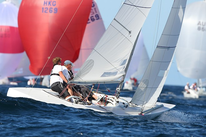 Etchells World Championship Sydney Australia 2012.  JAmes Howells 2nd overall race eight.a © Ingrid Abery http://www.ingridabery.com