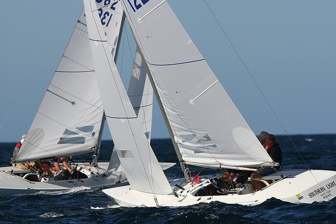 Etchells World Championship Sydney Australia 2012.  John Savage's Southern Light crossing tacks with Ross Lloyd's The Doctor. © Ingrid Abery http://www.ingridabery.com