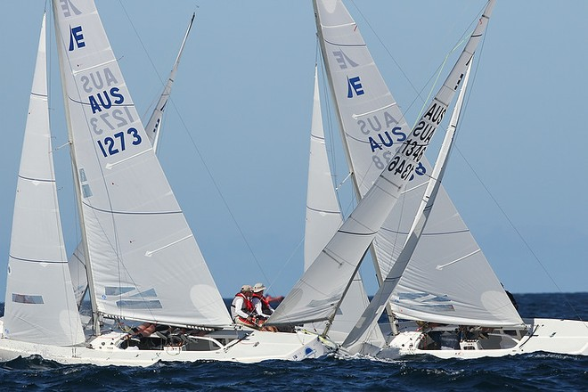 Etchells World Championship Sydney Australia 2012.   Ed McCarthy's North Sydney Station crossing tacks with Michael Bellingham's Avalon. © Ingrid Abery http://www.ingridabery.com