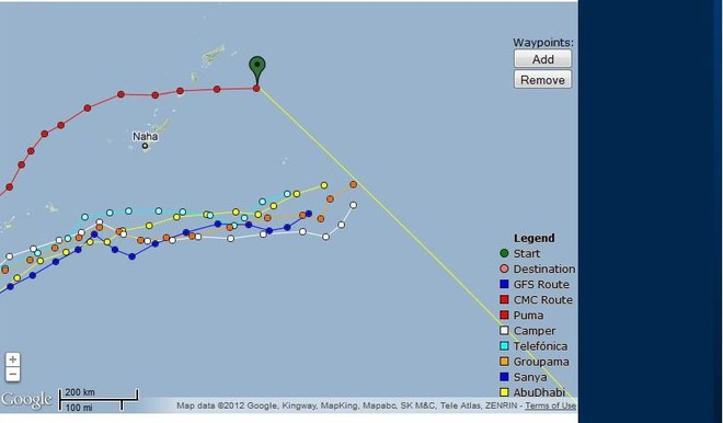 Fleet positions as at 25 February 2012 at 0900 GMT. Puma is at the rear of the fleet, but sailing substantially faster than the other five competitors. Camper, the leader on this leg, has been forced to sail the most northerly course of the six boat fleet - and is sailing away from NZ in search of stronger winds © PredictWind.com www.predictwind.com