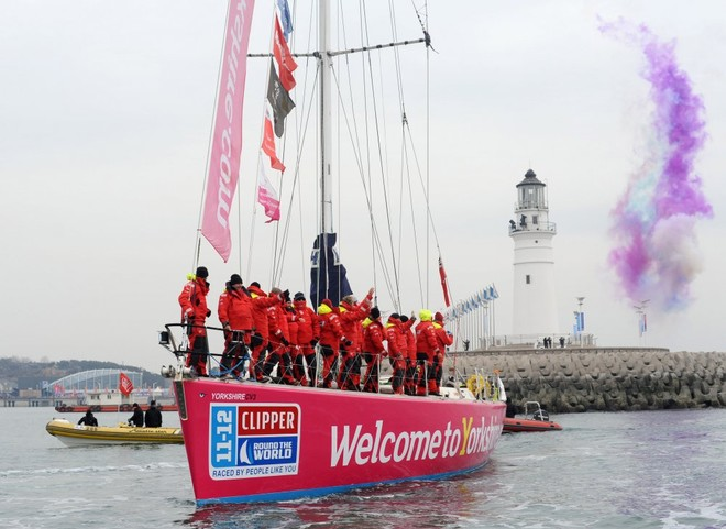 Welcome to Yorkshire receives a hero's welcome at the end of the challenging Race 8 - Clipper 11-12 Round the World Yacht Race © onEdition http://www.onEdition.com