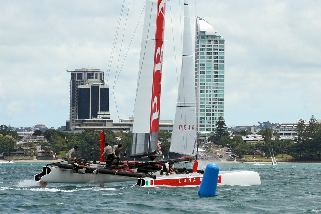 Luna Rossa wait for racing to start off Takapuna Beach, Auckland © Richard Gladwell www.photosport.co.nz