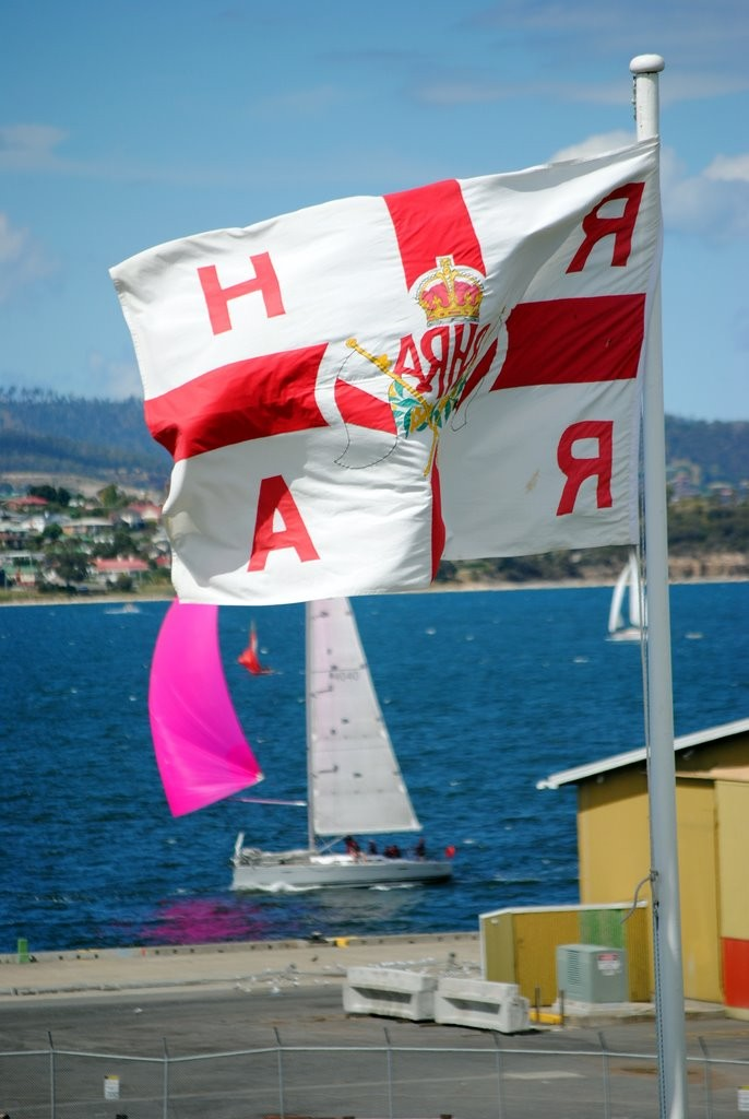The Royal Hobart regatta burgee frames The Protagonist, skippered by Colin Denny, president of the Maritime Museum of Tasmania - Royal Hobart Regatta 2012 © Rob Cruse