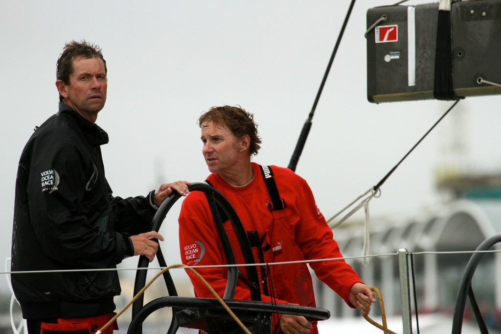 Brad Jackson (helm) and skipper Ken Read - 2011/12 Volvo Ocean Race, Leg 4 Finish - Puma © Richard Gladwell www.photosport.co.nz