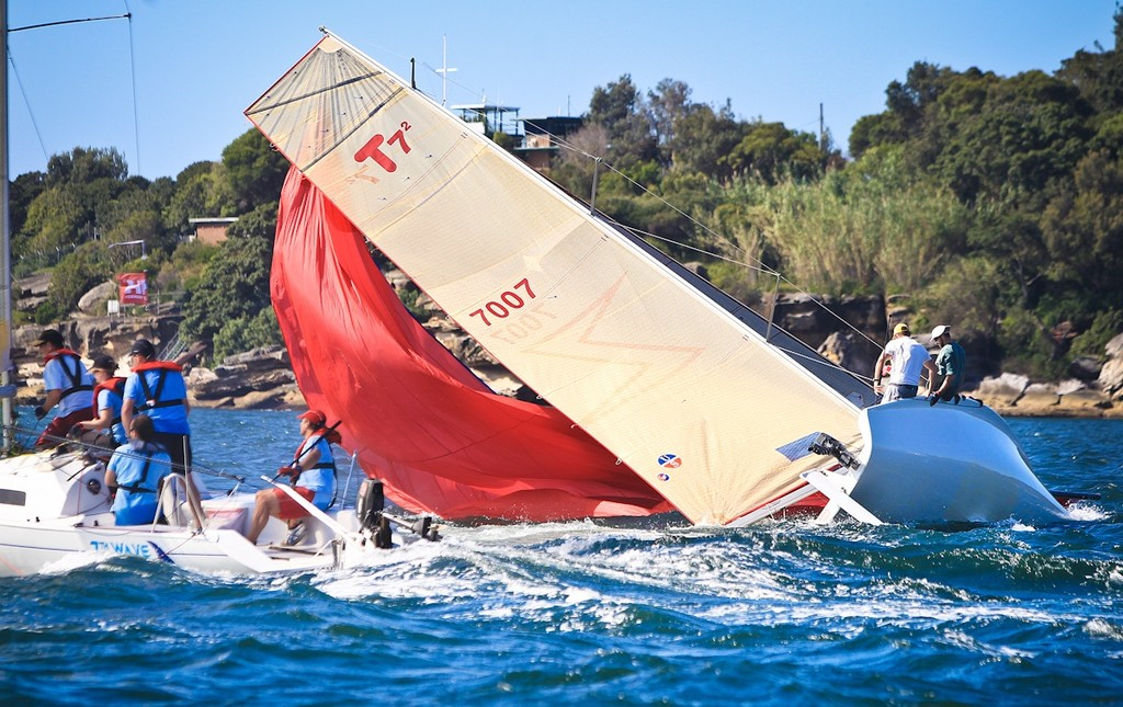 Zip had a big broach in the sports boat division - Sydney Harbour Regatta hosted by Middle Harbour Yacht Club, Mosman. © Saltwater Images