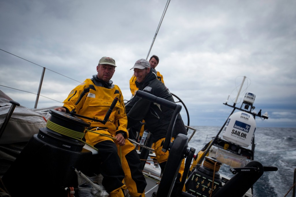Watch Captains plotting the skippers birthday plans aboard Azzam. Abu Dhabi Ocean Racing during leg 4 of the Volvo Ocean Race 2011-12, from Sanya, China to Auckland, New Zealand.  © Nick Dana/Abu Dhabi Ocean Racing /Volvo Ocean Race http://www.volvooceanrace.org
