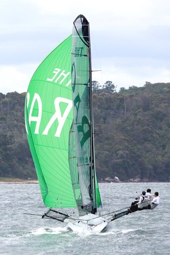 The rag's new #1 rig in action last week  © Frank Quealey /Australian 18 Footers League http://www.18footers.com.au