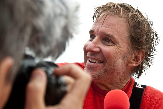 PUMA Ocean Racing powered by BERG, skipper Ken Read from the USA is interviewed, after finishing second on leg 4 from Sanya, China to Auckland, New Zealand, during the Volvo Ocean Race 2011-12. (Credit: Marc Bow/Volvo Ocean Race) ©  Marc Bow / Volvo Ocean Race