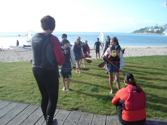 Preparing for some Waka Ama paddling - School Children enjoy Wellington Harbour © Wellington Ocean Sports Centre