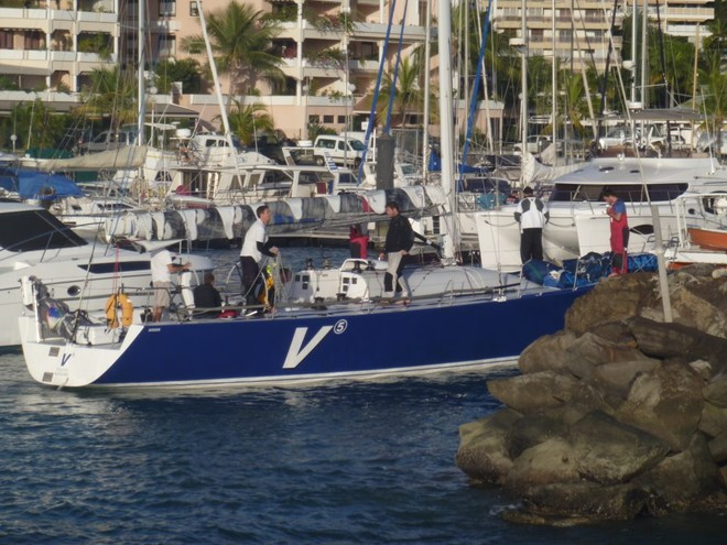 V5 enters the marina at Noumea, and was the first monohull to finish © Sail Noumea 2012 http://www.sailnoumea.com/