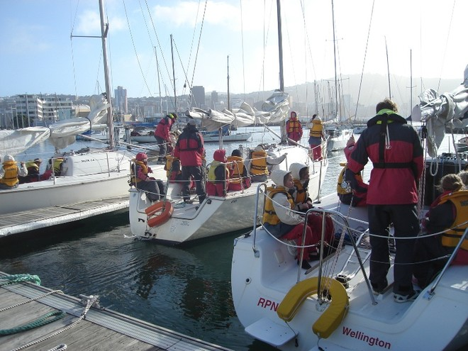 Keelboats leaving the dock - School Children enjoy Wellington Harbour © Wellington Ocean Sports Centre