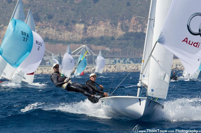 Belcher and Page on day two of the 2012 470 World Championship - photo Thom Touw © Thom Touw http://www.thomtouw.com