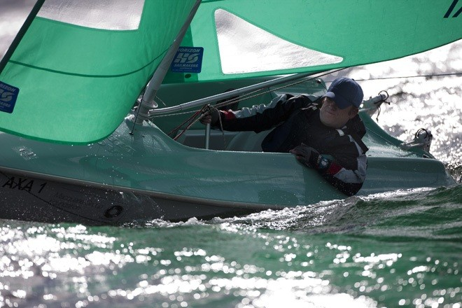 John Garbutt (AUS) gets down to serious sailing - Macquarie Access World Championships 2012 ©  Andrea Francolini Photography http://www.afrancolini.com/