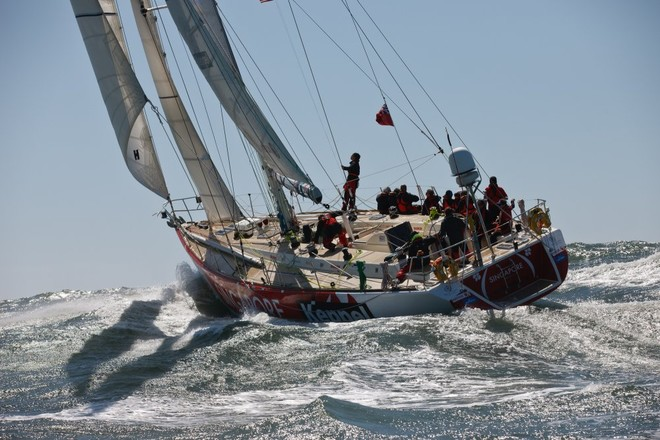 The Clipper Race fleet left Jack London Square in Oakland on 14 April to start Race 10, to Panama, escorted by US Coast Guard cutter Sockeye - Clipper 11-12 Round the World Yacht Race  © Abner Kingman/onEdition