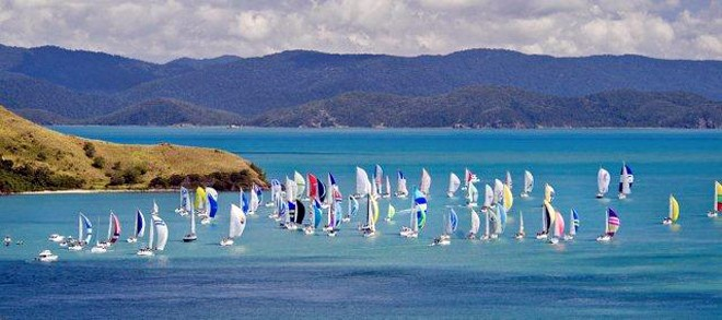 Close racing in the tropics: Part of the fleet at Audi Hamilton Island Race Week heads towards the famous waters of the Whitsunday Passage. © Ciaran Handy http://www.sail-world.com