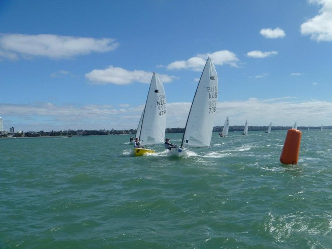 Top mark rounding Day4 - 2012 OK Interdominions and NZ Nationals, Wakatere BC April 2012 © NZ OK Dinghy Assoc