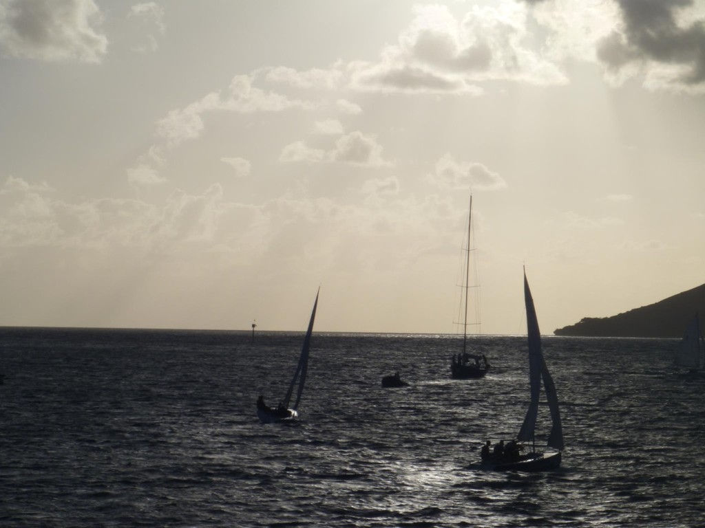 V5 is welcomed to Noumea by the Elliott6 fleet. © Sail Noumea 2012 http://www.sailnoumea.com/