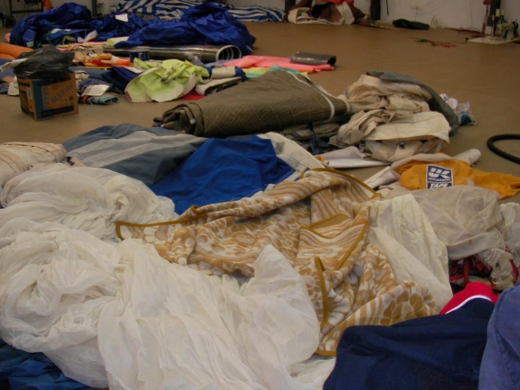 Bed in the spinnakers and work piling up - Volvo Ocean Race © Lorraine MacIntosh