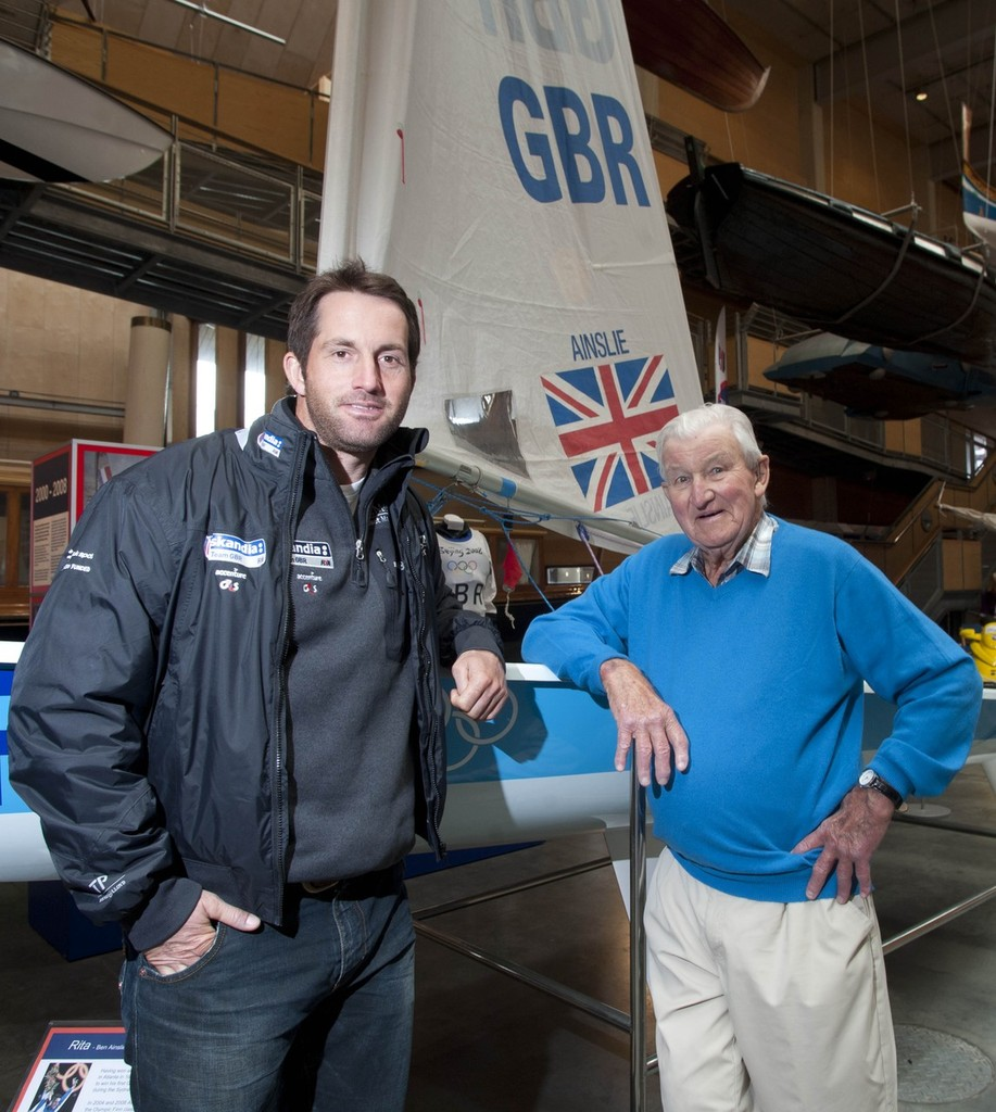 David Bond 90yrs who is the last surviving Olympic gold medallist from London 1948 meets Ben Ainslie Britains most successful Olympic sailor at the National Maritime Museum Cornwall in Falmouth - London 2012 Olympic Games © Mike Thomas