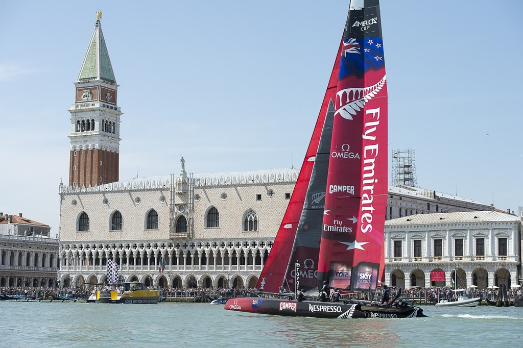 Emirates Team New Zealand finish the first race on Day 3 in Venice. America's Cup World Series Regatta Venice.  © Chris Cameron/ETNZ http://www.chriscameron.co.nz