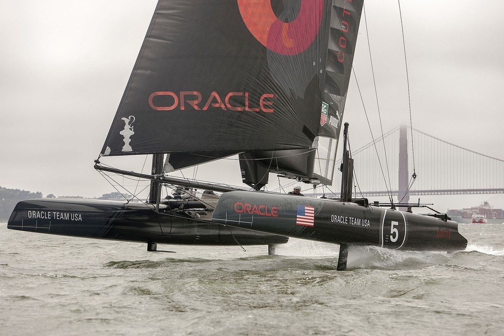 Oracle Team USA shows a hoisted L-dagger board, to windward, with the leeward hull fully supported and flying, while trialing in San Francisco on the AC45's © Guilain Grenier Oracle Team USA http://www.oracleteamusamedia.com/