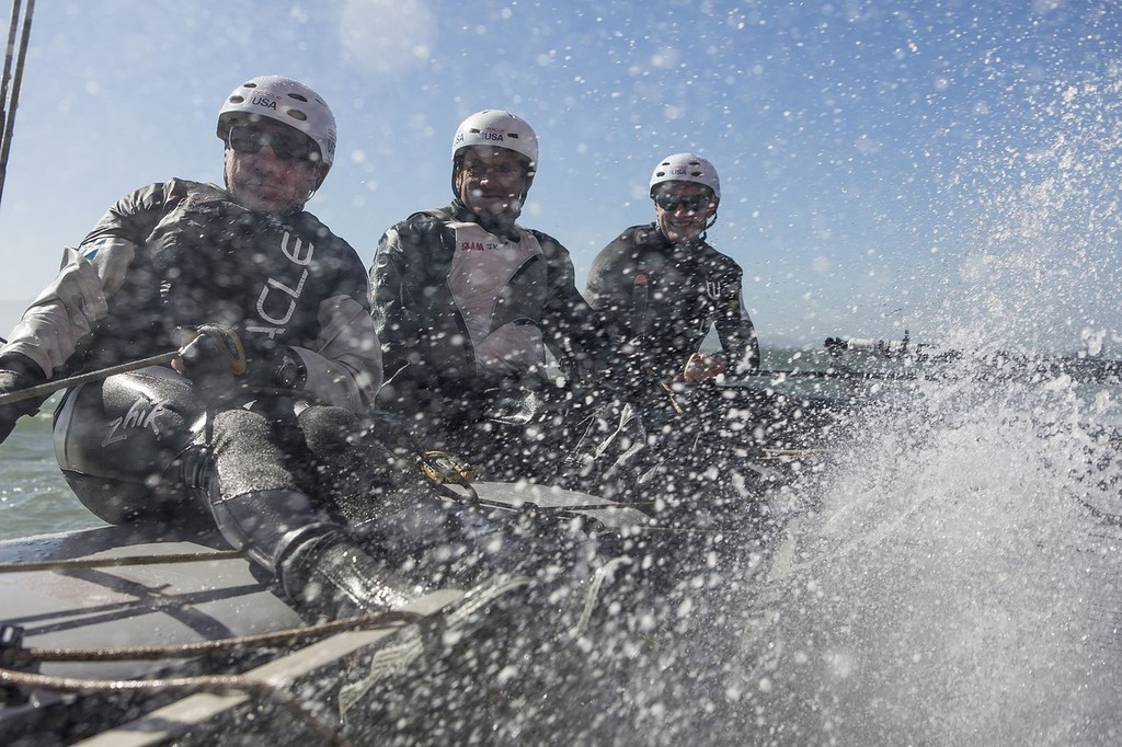 Big wave surfer, Laird Hamilton, rides the AC45 with Jimmy Spithill and Oracle Team USA in San Francisco © Guilain Grenier Oracle Team USA http://www.oracleteamusamedia.com/