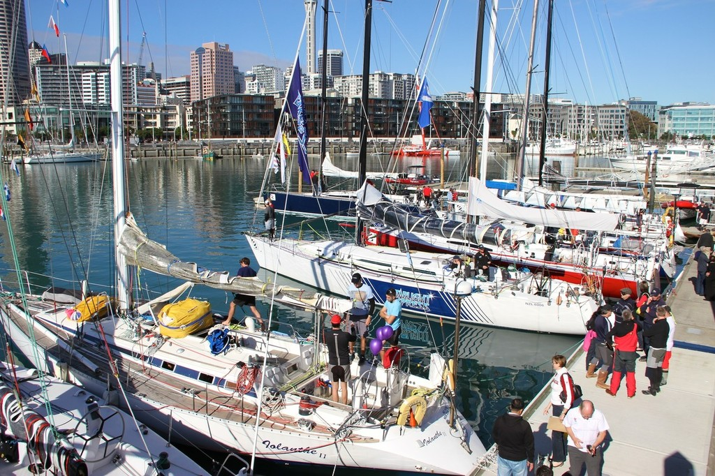 Iolanthe II (foreground) in Viaduct harbour, Auckland before the start of the Evolution sails Sail Noumea 2012 race. © Richard Gladwell www.photosport.co.nz
