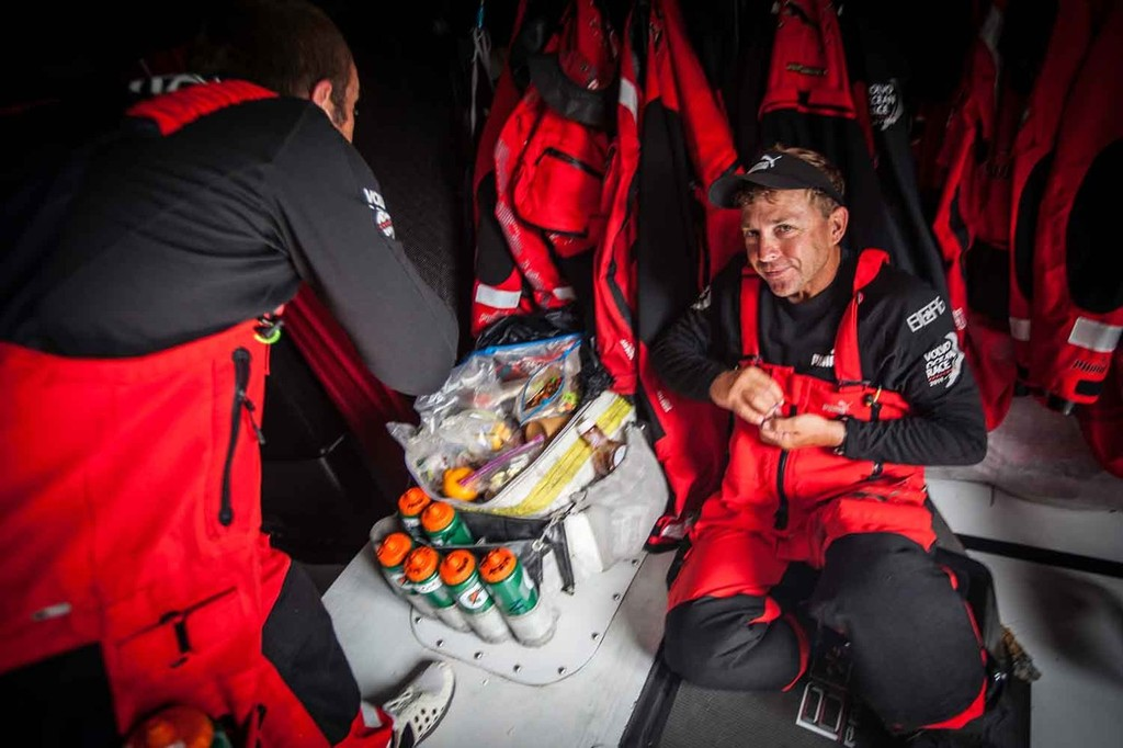 The trail-mix gang of Kelvin Harrap and Ryan Godfrey; M&M's beware. Onboard PUMA Ocean Racing powered by BERG during leg 7 of the Volvo Ocean Race 2011-12 © Amory Ross/Puma Ocean Racing/Volvo Ocean Race http://www.puma.com/sailing