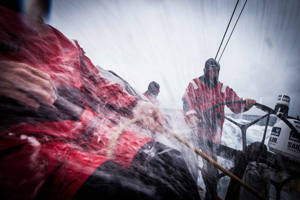 High speed sailing on a Volvo 70: wet, wet, wet. Onboard PUMA Ocean Racing powered by BERG during leg 7 of the Volvo Ocean Race 2011-12 © Amory Ross/Puma Ocean Racing/Volvo Ocean Race http://www.puma.com/sailing