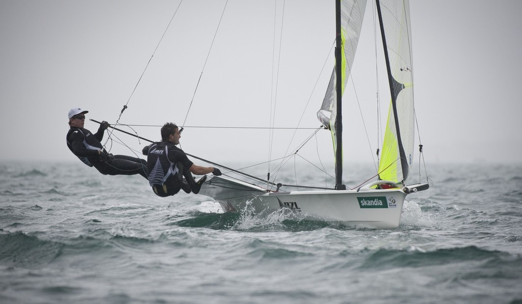 Peter Burling and Blair Tuke (NZL) racing in the 49er class on the day 4 of the Skandia Sail for Gold Regatta, in Weymouth © onEdition http://www.onEdition.com