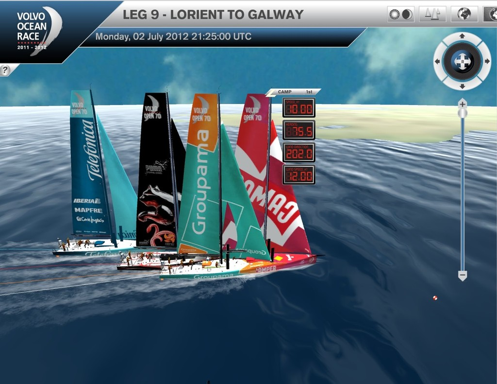 Rounding Eeragh Ltho Camper has a small lead heading to Galway - Leg 9 Volvo Ocean Race © Virtual Eye/Volvo Ocean Race http://www.virtualeye.tv/