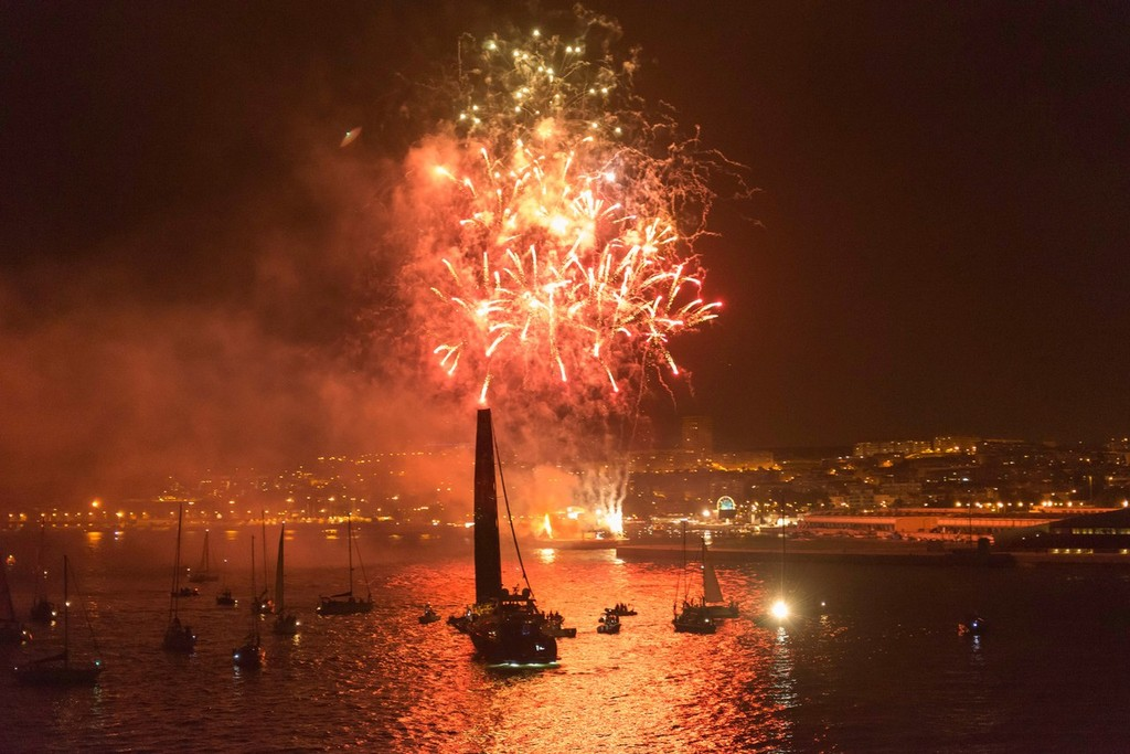 Fireworks go off, as Abu Dhabi Ocean Racing, skippered by Ian Walker from the UK finish first on leg 7, from Miami, USA to Lisbon, Portugal, during the Volvo Ocean Race 2011-12. (Credit: PAUL TODD/Volvo Ocean Race) © Paul Todd/Volvo Ocean Race http://www.volvooceanrace.com
