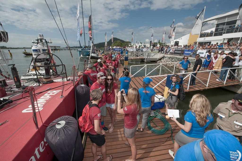 CAMPER with Emirates Team New Zealand's crew are greeted by family and interviewed by the media, after finishing leg 5 of the Volvo Ocean Race 2011-12, from Auckland, New Zealand, to Itajai, Brazil. (Credit: PAUL TODD/Volvo Ocean Race) © Paul Todd/Volvo Ocean Race http://www.volvooceanrace.com