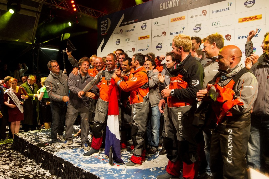 Groupama Sailing Team, skippered by Franck Cammas from France, celebrate winning the Volvo Ocean Race 2011-12, after securing second place on leg 9 from Lorient, France to Galway, Ireland. (Credit: IAN ROMAN/Volvo Ocean Race) photo copyright Ian Roman/Volvo Ocean Race http://www.volvooceanrace.com taken at  and featuring the  class