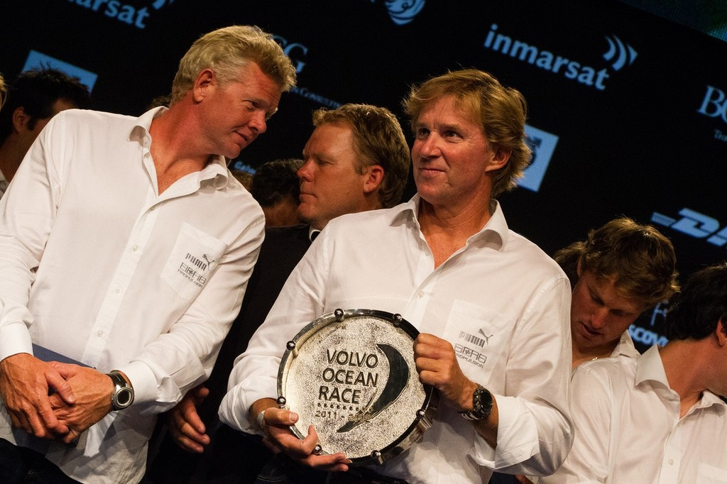 Puma Ocean Racing powered by Berg, skippered by Ken Read from the USA, are awarded third place for the Volvo Ocean Race 2011-12, at the Prize Giving Ceremony in Galway, Ireland, during the Volvo Ocean Race 2011-12.  © Ian Roman/Volvo Ocean Race http://www.volvooceanrace.com