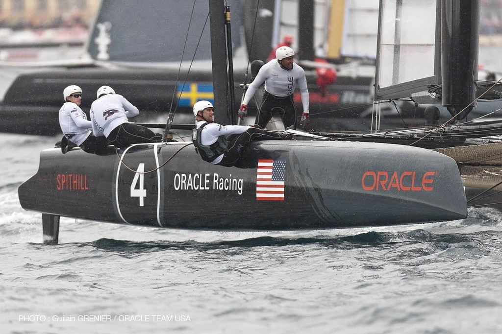 Oracle Racing competing in their AC 45 on the final race day of the ACWS Naples 2012. The AC72 will be almost 30ft longer, 30ft wider and with 11 crew instead of the 5 on the AC45 © Guilain Grenier Oracle Team USA http://www.oracleteamusamedia.com/